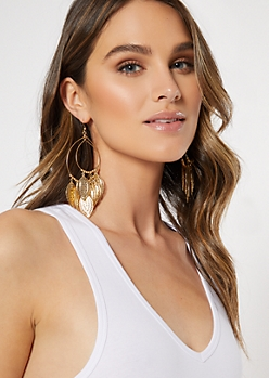 Gold Filigree Double Hoop Earrings