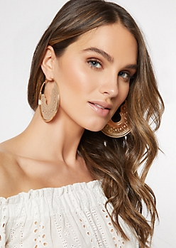 Gold Medallion Hoop Earrings