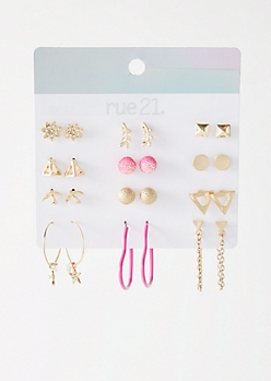 12-Pack Gold Hot Pink Triangle Earring Set