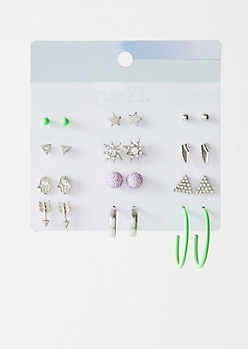 12-Pack Silver Neon Green Decorative Earring Set