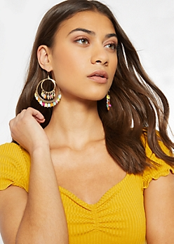 Gold Double Hoop Rainbow Charm Dangle Earrings