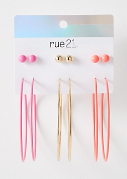 6-Pack Gold Neon Matching Earring Set