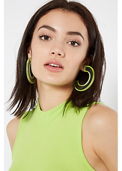 Neon Green Clear C Shape Statement Earrings
