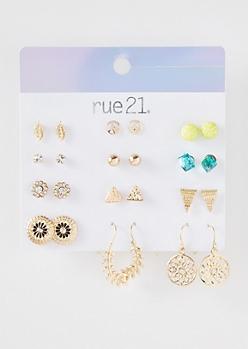 12-Pack Gold Lime Leaf Ear Crawler Earring Set