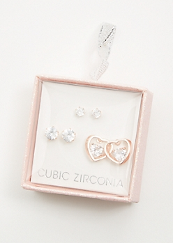 3-Pack Rose Gold Cubic Zirconia Heart Earring Set