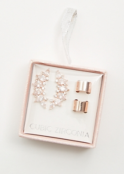2-Pack Rose Gold Cubic Zirconia Crawler Earring Set