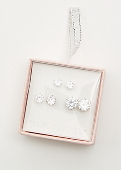 3-Pack Silver Cubic Zirconia Earring Set