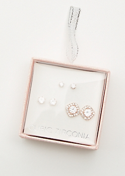 3-Pack Rose Gold Cubic Zirconia Earring Set