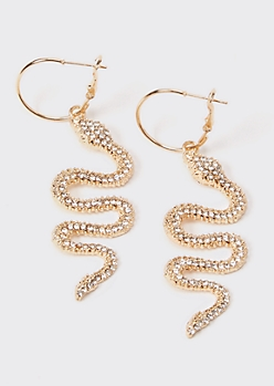 Gold Rhinestone Snake Dangle Earrings