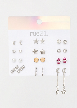 12-Pack Silver Dream Star Earring Set