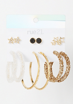 6-Pack Gold Chunky Glitter Star Earring Set