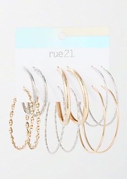 6-Pack Mixed Metal Twist Hoop Earring Set