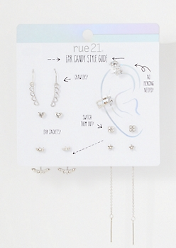7-Pack Silver Bling Heart Earring Set
