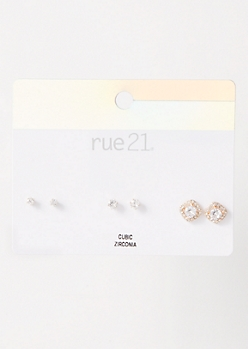 3-Pack Silver Halo Stud Earring Set