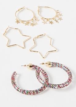 3-Pack Gold Glitter Star Hoop Earring Set