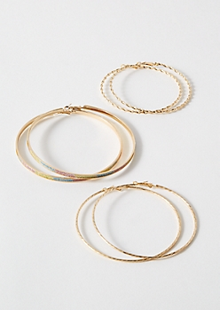3-Pack Gold Rainbow Striped Hoop Earring Set