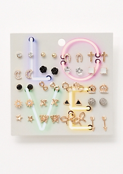 20-Pack Gold Love Stud Earring Set
