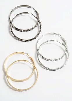 3-Pack Mixed Metal Gem Encrusted Hoop Earring Set
