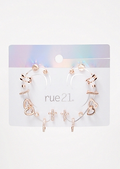 Rose Gold Double Heart Ear Cuff Set