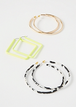 3-Pack Neon Speckle Square Hoop Earring Set