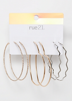 3-Pack Mixed Metal Heart Zig Zag Hoop Earring Set