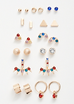 12-Pack Gold Rainbow Ear Jacket Earring Set