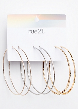 3-Pack Mixed Metal Hammered Hoop Earring Set