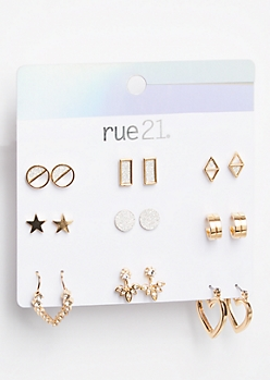 9-Pack Gold Metallic Ear Crawler Earring Set