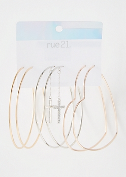 3-Pack Mixed Metal Heart Cross Hoop Earring Set