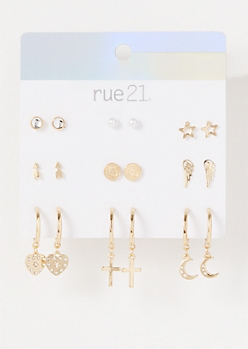 9-Pack Gold Celestial Angel Dangly Earrings