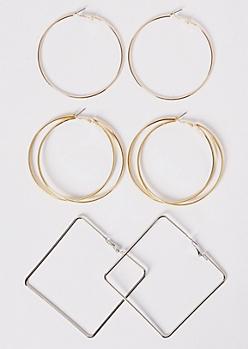 3-Pack Mixed Metal Geometric Hoop Earrings Set