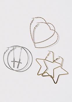 3-Pack Mixed Metal Heart Star Cross Hoop Earring Set