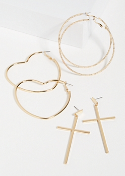 3-Pack Gold Heart Cross Trio Earring Set