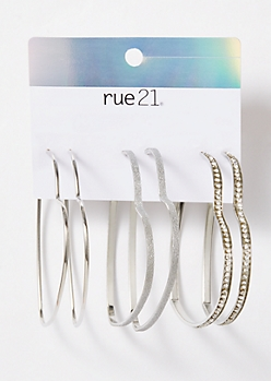 3-Pack Silver Sparkly Heart Hoop Earring Set