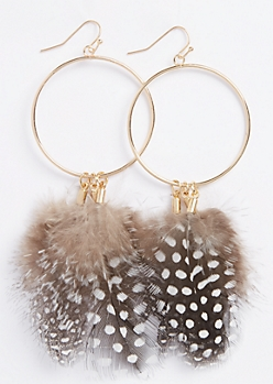 Golden Feather Hoop Statement Earrings