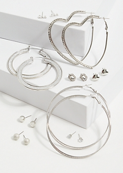 9-Pack Silver Heart Assorted Earring Set