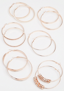 6-Pack Rose Gold Pearl Sparkle Hoop Earring Set