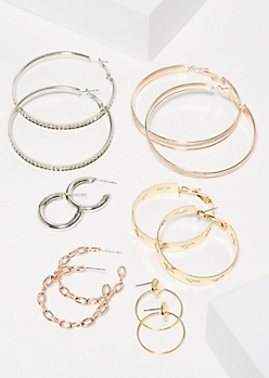 6-Pack Mixed Cutout Cross Hoop Earring Set