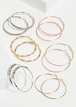 6-Pack Mixed Stone Twist Hoop Earring Set