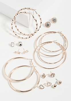 9-Pack Rose Gold Love Forever Earring Set
