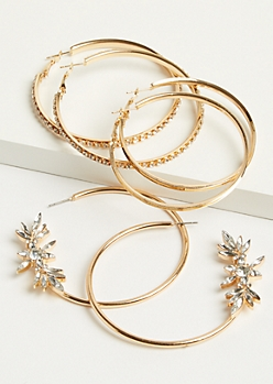 3-Pack Gold Floral Bouquet Hoop Earring Set