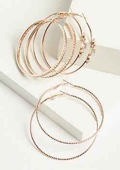 3-Pack Gold Delicate Gem Hoop Earring Set