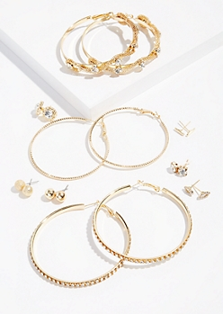 9-Pack Gold Coiled Mesh Earring Set