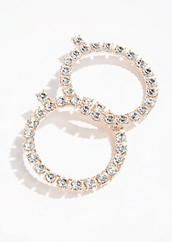 Rose Gold Gem Hoop Earrings