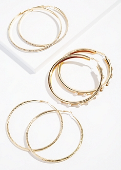 3-Pack Gold Pearl Oversized Hoop Earring Set