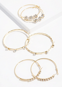 3-Pack Gold Gem Cluster Hoop Earring Set