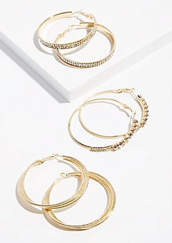 3-Pack Gold Iridescent Hoop Earring Set