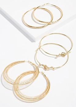 3-Pack Gold Snake Hoop Earring Set
