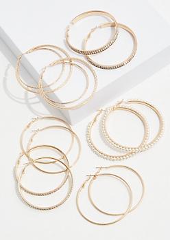 6-Pack Gold Pearl Hoop Earring Set