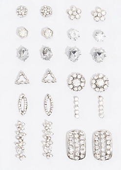 12-Pack Silver Triangle Gem Earring Set